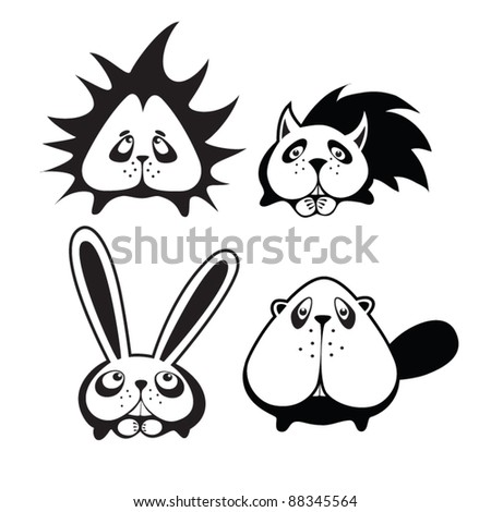 Set of four funny animals - stock vector