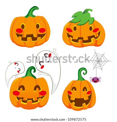 Set of four funny pumpkin faces for Halloween
