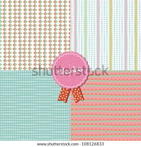 Set of four geometric seamless colorful triangle and lines pattern. Vector design elements