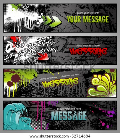 set of four graffiti style