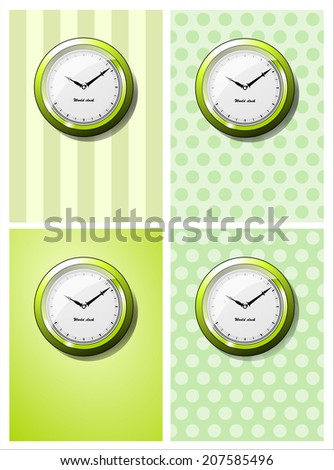 set of four green office clock