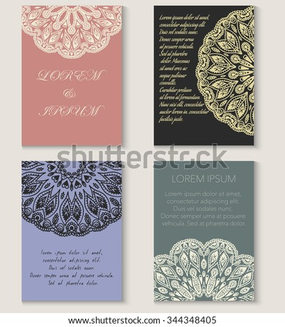 Set of four greeting card or brochure templates. Hand drawn ethnic background. Ottoman, Indian, Islamic, Arabian motif. Lacy round ornament.