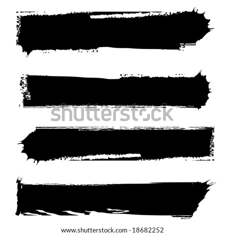 set of four grungy banners black and white