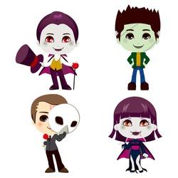 Set of four Halloween monster cartoon character illustration