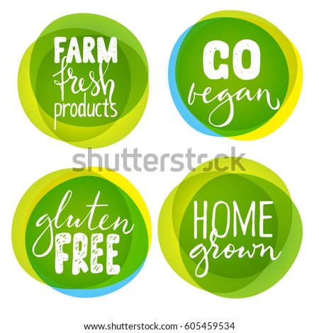 set of four healthy food labels