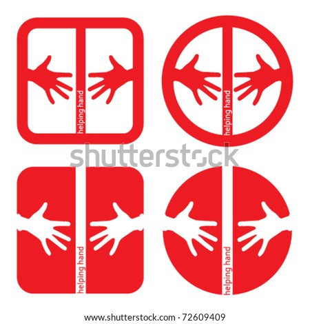 set of four helping hands red icons