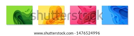Set of four horizontal flyers in cut paper style. Blue, green, yellow and pink template for posters, brochures, presentations, invitations with place for text . Collection of vector cards