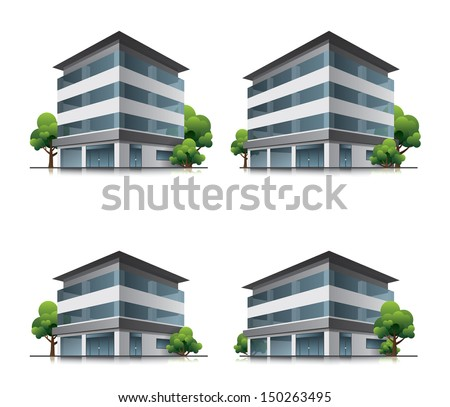 Set of four hotel or business office vector building icons with trees