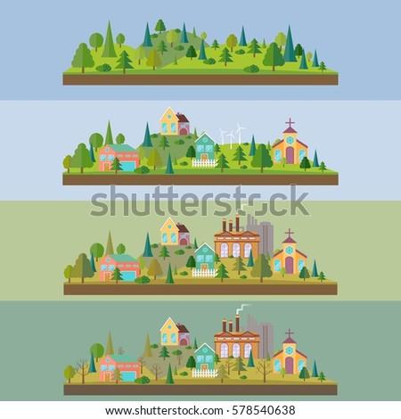 set of four illustration wild