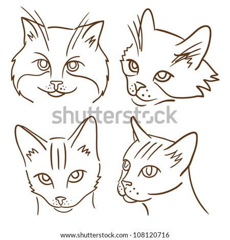 Set of four illustrations with cats