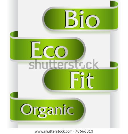 Set of four labels with word: bio, eco, fit and organic