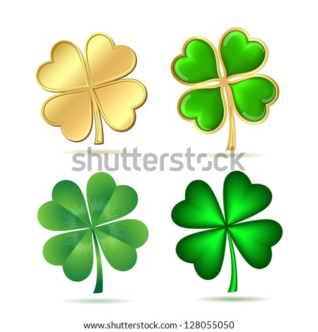 Set of four-leaf clovers isolated on white. St. Patrick's day symbol. Vector illustration