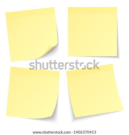 Set Of Four Light Yellow Stick Notes