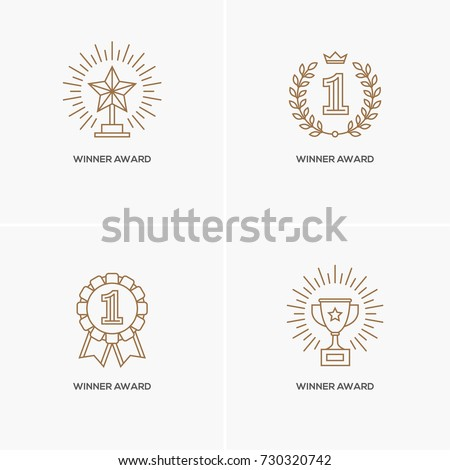 Set of four linear awards: trophy or winner cup, star, and medal with number one. Victory, success, achievement symbol, logo design element. Contest gold winner, sport champion emblem.