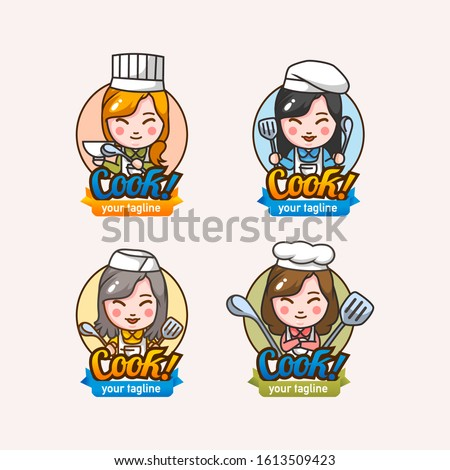 set of four mascot character women cheff with cooking tools and cheff hat vector illustration. you can add your own tagline. use fot mascot, restaurant logo and other.