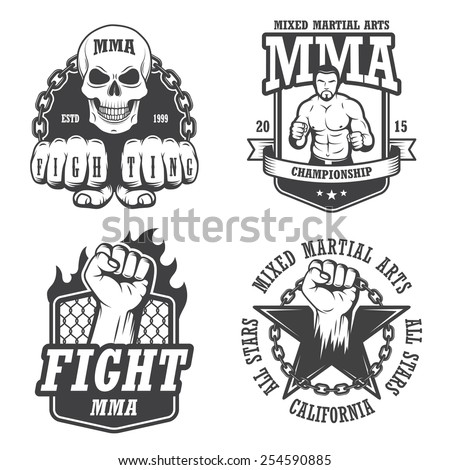 Set of four mma emblems, labels, badge, logos. Monochrome graphic style