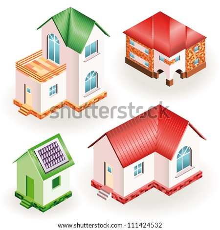 Set of four models of three dimensional residential houses over white background