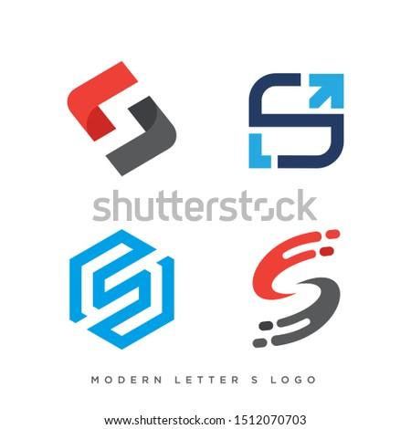 set of four modern letter s