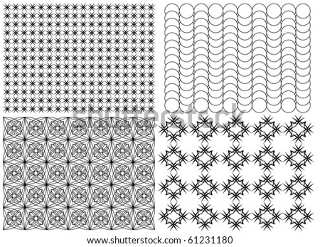 Set of Four Mosaic Patterns on a White Background