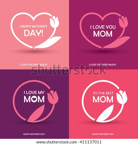 Set of four Mothers Day greeting card, banner or poster designs, round and heart shaped frames with abstract tulip flower in pink colors Stock photo ©