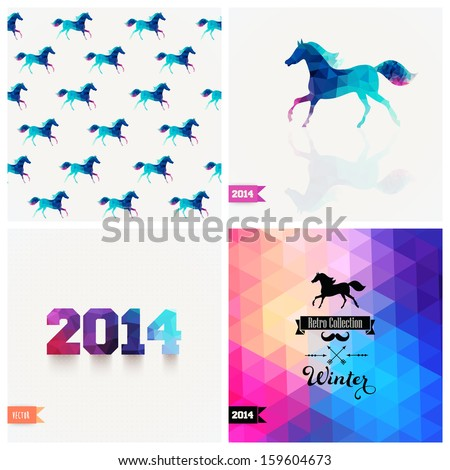 Set of four New Year symbols. Blue horse.Vector retro supply, hipster background. Retro styled badge, signs. Banner. Horse Backdrop. Geometric. Triangle. Winter. Silhouette. Christmas label.Vector.
