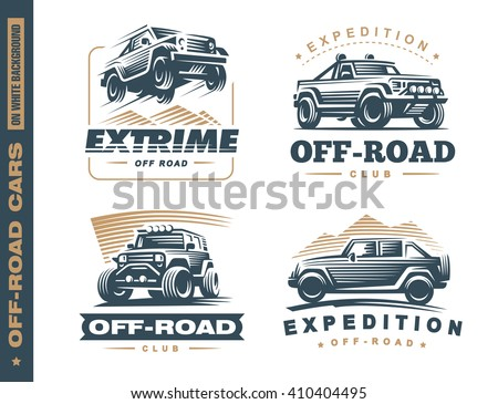set of four off road suv car