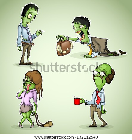 Set of four office zombie
