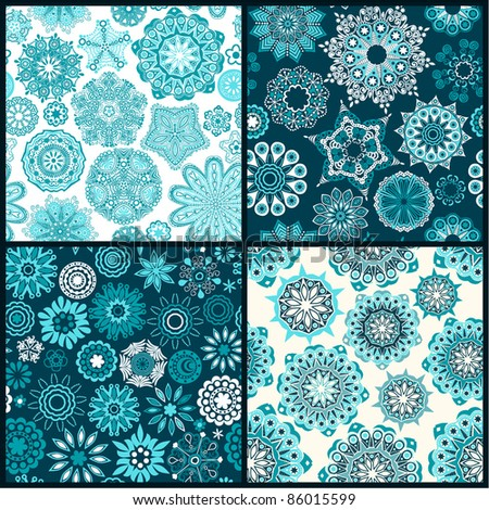 Set of four ornate floral seamless texture, endless pattern with flowers looks like retro snowflakes or snowfall. Can be used for wallpaper, pattern fills, web page background, surface textures.