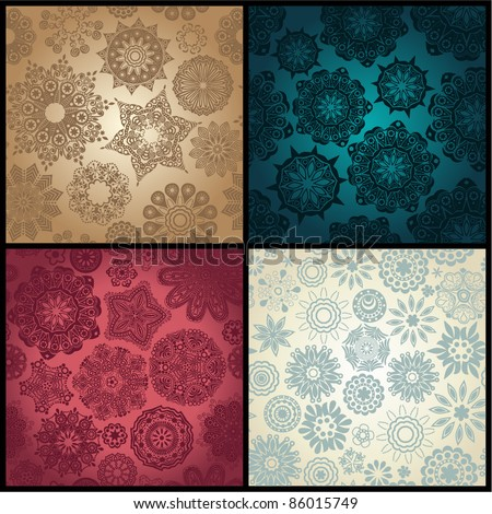 Set of four ornated floral seamless texture, endless pattern with flowers looks like retro snowflakes or snowfall. Can be used for wallpaper, pattern fills, web page background, surface textures eps10
