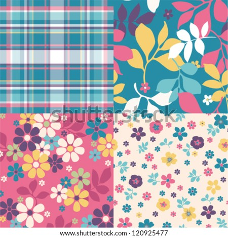 Set of four ornated floral seamless texture vector baclground