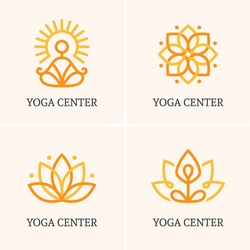 Set of four outline icons and symbols for spa center or yoga studio