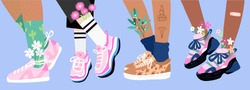 Set of four pairs of female or male legs in the sneakers. Cool bright sport footwear. Stylish platform shoes. High socks and flowers. Hand drawn vector colored trendy illustration. Flat design