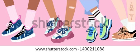 Set of four pairs of female or male legs in the sneakers. Cool bright sport footwear, stylish platform shoes. High socks. Band aid, tattoo. Hand drawn vector colored trendy illustration. Flat design