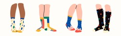 Set of four pairs of female or male legs in the socks. Various poses. Cool prints. Stylish underwear. Fashion accessories. Footwear. Hand drawn vector colored trendy illustration. Flat design