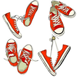 Set of four pairs of red sneakers in different positions drawn in a sketch style. Vector illustration.