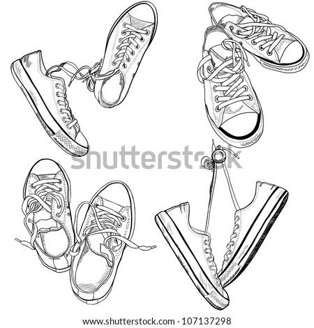 Set of four pairs of sneakers in different positions drawn in a sketch style. Vector illustration.