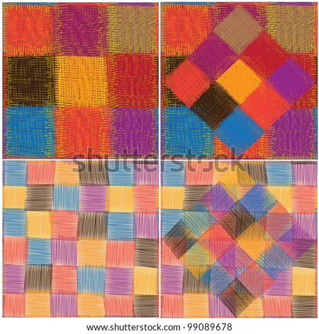 Set of four patchwork quilted seamless patterns