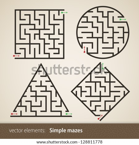 Set of four perfect maze
