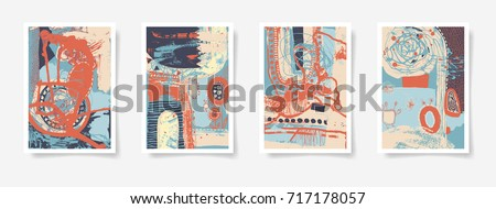 set of four pieces blank A4 sheet contemporary abstract painting, original abstraction background vector illustration collection