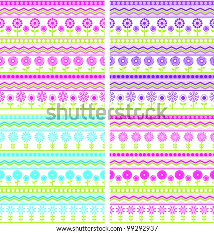 Set of four Pink, Purple, Blue and Green spring style striped and dotted fabrics with zig-zags and flowers - seamless background
