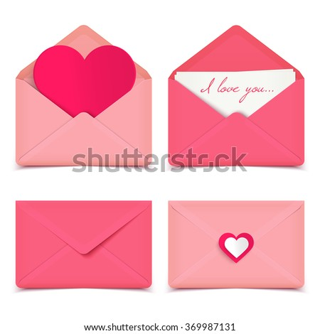 Set of four pink Valentine romantic vector envelopes isolated on white