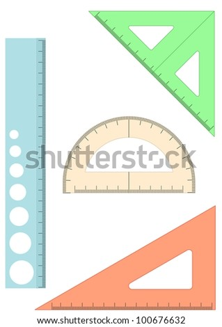 set of four plastic school rulers on white background