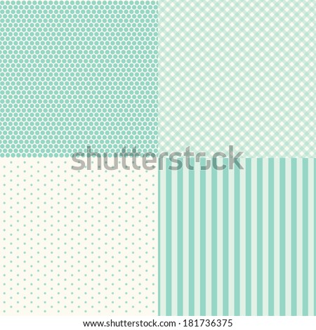 Set of four popular primitive retro backgrounds in shabby chic style