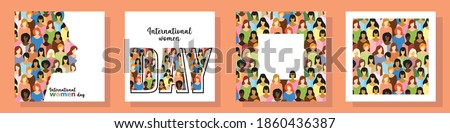 set of four postcards on the theme of international women's day. postcards with inscriptions, frame with space for text, background. the flat pattern. stock vector illustration. EPS 10.