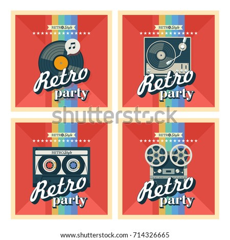 Set of four posters. Vector illustration. Retro party. Depicts a reel to reel tape, vinyl record, tape cassette, turntable for vinyl records.