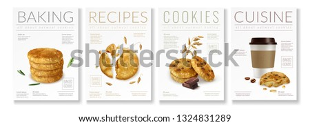 Set of four realistic posters on theme of oat cookies with captions baking recipes cookies and cuisine vector illustration