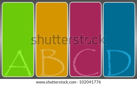 Set of four rectangular Playcard or Option cards with blank background