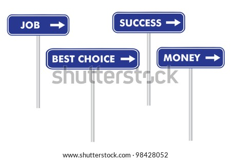 set of four road signs vector illustration