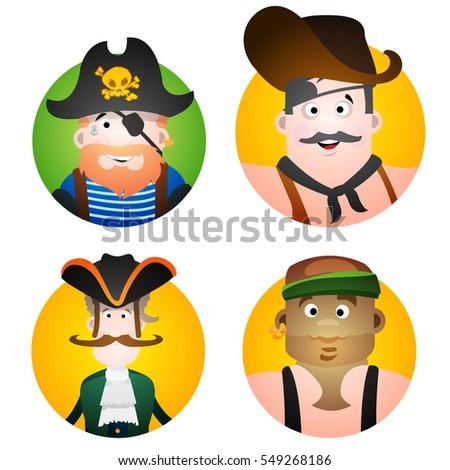 set of four round of avatars