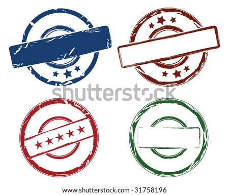 set of four rubber stamps in colors